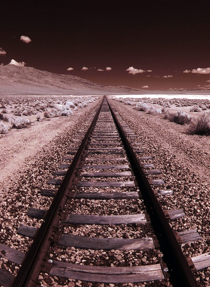 Railroad Tracks to Horizon on a Salt Flat
